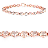 18K Rose Gold 3.90CT Oval Cut Natural Morganite Bracelet