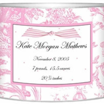 Birth Announcement Personalized Baby Bin | Pink