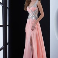 Jasz Couture Beaded Sleeves Dress 5419