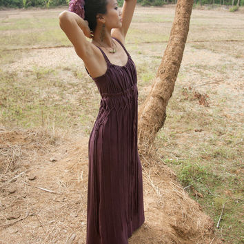 Sale - ORGANIC BOHEMIAN DRESS - Boho Hippie Maxi Long Elegant Prom Wedding Party Couture Burning man gift present Pregnant - Purple Plum