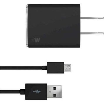 Just Wireless 705954044703 Micro USB Cord With Wall Charger - Black