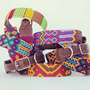 New! Hand Woven Dog Collars Colorful Ethnic Patterns