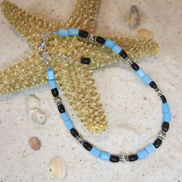 Sky Blue Cats eye Black Obsidian and Silver Beads Ankle Bracelet Beach Anklet Summertime Jewelry Sun tan Natural Shell Bohemian Chic