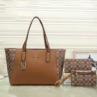 COACH women shopping shoulder bag female inclined shoulder bag brown Three piece Brown G-LLBPFSH