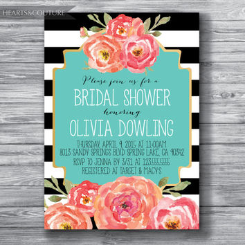 Bridal Shower Invitation, Wedding Shower, Floral Black & White Stripe Bridal Shower Invite, gold bridal shower, floral invite, DIY Printable