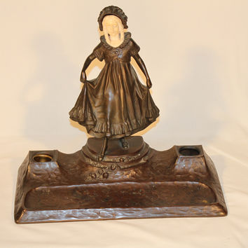 Bronze and Porcelain Girl with Pen and Ink Tray