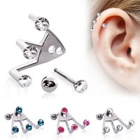 Ear Cartilage Ring Stud Jewelry Triple Trident Lobe Earring Round CLEAR CZ 18G