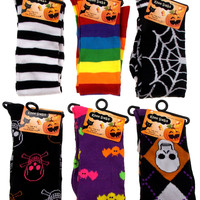 6 Pairs Halloween Knee High Socks Womens 4-10 Black Purple Rainbow Bats Skulls