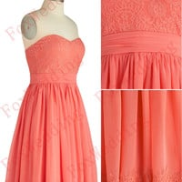 Short Coral Bridesmaid Dresses Chiffon Bridesmaid Dresses Lace Bridesmaid Dress Coral Prom Dresses Short Prom Dress Lace Prom Dress Chiffon