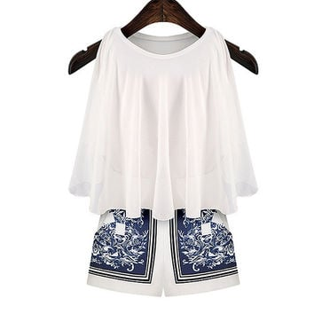 White Sleeveless Skater Chiffon Tank Top and Porcelain Print Shorts