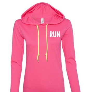 RUN Pink long sleeve Sweatshirt with hood,Lightweight T-shirt like Material.Workout hoodie.Workout sweatshirt.women's hoodie.sweatshirt.