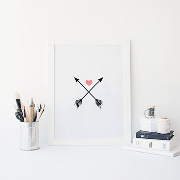 "PRINTABLE Art"" Arrow"" Arrow Digital Art,Red Heart,Digital Art,Modern Wall Art,Valentines Day,Wedding,Gift Idea,Home Decor,Dorm Room Decor"
