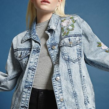 Embroidered Acid Wash Jacket