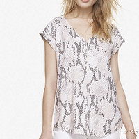 SNAKESKIN PRINT ZIP FRONT TEE from EXPRESS