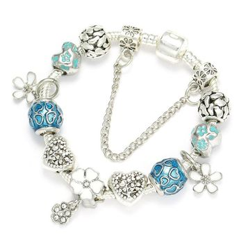 BAOPON 2018 Fashion 925 Unique Silver Plated Crystal Beads Charm Bracelet For Women Fits Pandora Bracelets Brand Jewelry
