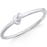 kate spade new york Silver-Tone Love Knot Hinged Bangle Bracelet - All Fashion Jewelry - Jewelry & Watches - Macy's