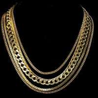 """Monet Chain Necklace Signed 5 Strands Gold Metal Ext Chain Hook Clasp 16"""" Vintage"""