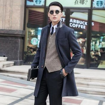 Grey black khaki long sleeve suit collar wool coat men jackets and coats mens slim wool single buttons winter trench coats 9XL
