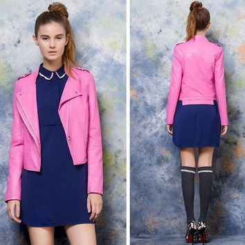 Spring Slim PU Leather Jackets Women Turn-down Collar Faux Leather Autumn Coats