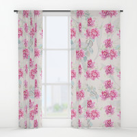watercolor peonies Window Curtains by sylviacookphotography