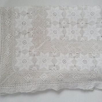 Crochet tablecloth, crochet bedspread, crochet blanket, crochet throw, nordic decor, shabby chic, cotton crochet, throw blanket, white,