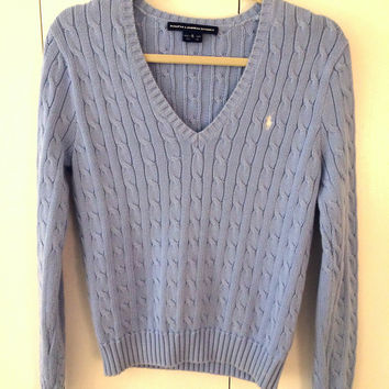 6558320ced V Neck Polo Ralph Lauren Cable Knit Sweater (Polo by Ralph Laure