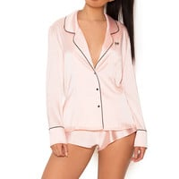 Clothing : Nightwear : 'Aubrie' Blush Satin Long Sleeve PJ