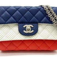 CHANEL Chain Shoulder Bag Purse Porch A34290 Tricolor Calf Leather Women Rare