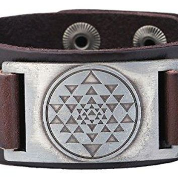Punk Vintage India Sri Yantra Meditation Metal Connector Cuff Leather Bracelet Amulet Jewelry