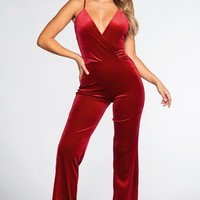 Live To Tell Velvet Jumpsuit - Red