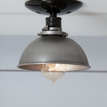 Steel Metal Dome Shade Light - Semi Flush Mount Ceiling Lighting