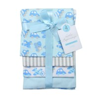 Baby Boy Blue Receiving Blankets. Set of 4 Designs