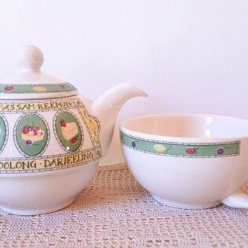 Vintage Single Cup Tea Pot and Serving Cup Tea for One Arthur Wood Son Staffordshire England Tea Lovers Darjeeling Ceylon Tea