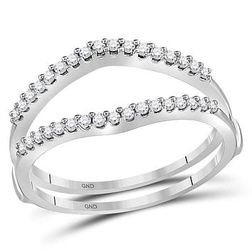 14kt White Gold Women's Round Diamond Ring Guard Wrap Enhancer Wedding Band 1/4 Cttw - FREE Shipping (US/CAN)