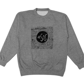 5 sos sketch sweater Gray Sweatshirt Crewneck Men or Women for Unisex Size with variant colour