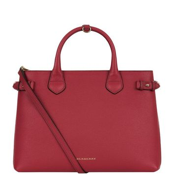 Burberry 'Medium Banner' House Check Leather Tote