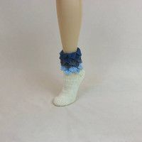 Slouch Socks, Dragon Scale Sleep Socks Size 10, Slouchy Slipper Fun Socks, Blue Ombre House Slippers, Casual Leg Ankle Warmers