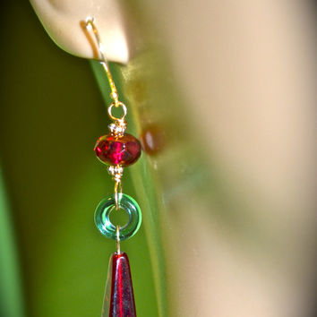 Gorgeous In Garnet Earrings handmade garnet red Czech glass and green glass gift for women