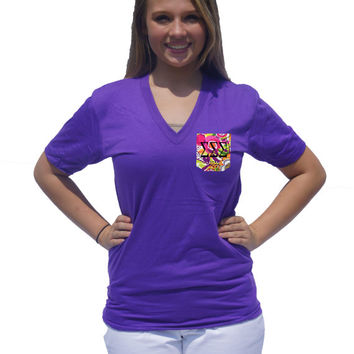 CUSTOM American Apparel V-Neck Pocket Tee -- Perfect for Greek (Sorority or Fraternity) Letters or Monogram!