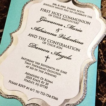 Communion Invitation - Silver Glitter and Foil Confirmation Invitation - DANIELLE VERSION