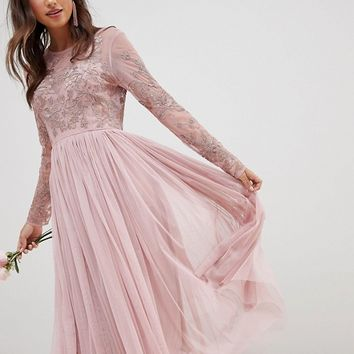 ASOS DESIGN Bridesmaid embroidered mesh long sleeve midi dress at asos.com