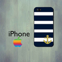 Navy Blue Stripe Gold Anchor iPhone Case - iPhone 4 Case or iPhone 5 Case