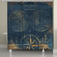Golden Compass Blue World Map Shower Curtain