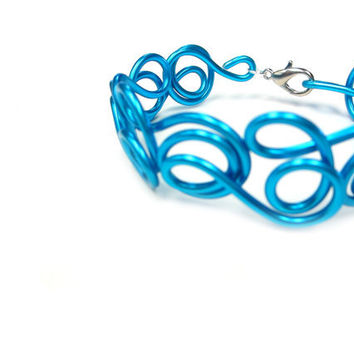 Turquoise Wire Bracelet Ocean Blue Jewelry Spiral Wire Art Abstract Fun Spring Summer