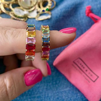 Rainbow Crystal Ring | Small Rainbow Baguette Eternity Band | Rainbow Stacking Ring