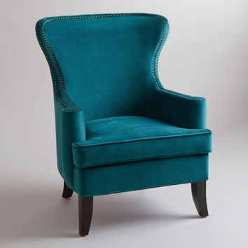 Pacific Blue Elliott Wingback Chair - World Market