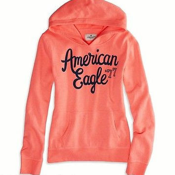 American Egale AE Knockout Neon Pink Graphic Popover Hoodie Sweatshirt L XL XXL