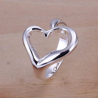 Heart Open Silver Ring