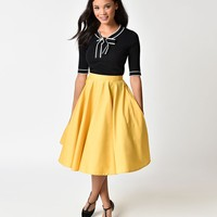 1950s Style Mustard Yellow Cotton Circle Skirt
