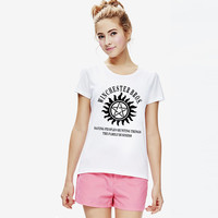Summer Cotton Graphic Supernatural Printed Funny Shirts Women Tops Girls Woman T-shirts Female Slim Fit T Shirts